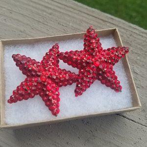 80s Vintage Earrings Clip On Eichard Kerr Red Star
